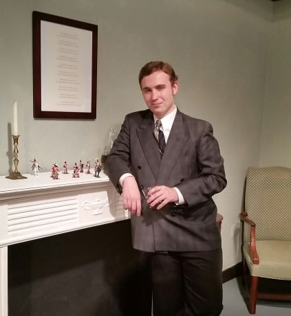 Anthony Marston (William Stiles) examines the 10 Little Soldiers on the mantelpiece. Photo by Richard Atha-Nicholls.