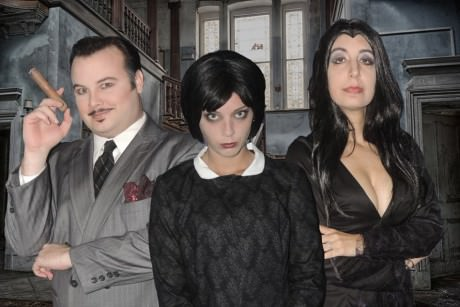 jordan B. Stocksdale (Gomez), Mary Ellen Cameron (Wednesday), and Jessica Billones (Morticia). Photo courtesy of Way Off Broadway.