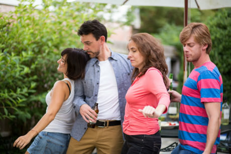 (L to R) Rachel Roth (Sharon), Greg Jericho (Ben), Beth Weber (Mary), and David Shoemaker (Kenny). Photo by Chris Hartlove.