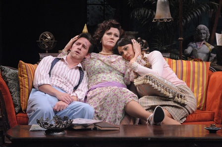 Chris Dinolfo (Simon), Valerie Leonard (Judith), and Audrey Bertaux as Simon, (Sorel). Photo by Stan Barouh.