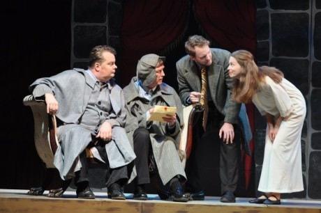 Tom Flatt (Vernon Volker, Ted Culler (Richfield Hawksley), Michael Dobbyn (Jack Morris), Abigail Ropp (Mary Pierre). Photo by Matthew Randall, Allrand Photography.