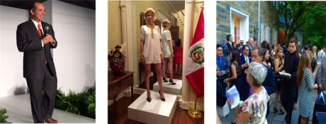 Peruvian Ambassador Luis Miguel Castilla introduces the fashion designers on the catwalk – The latest fashions are presented at the Peruvian Embassy – The crush at the Peruvian Embassy's bash.