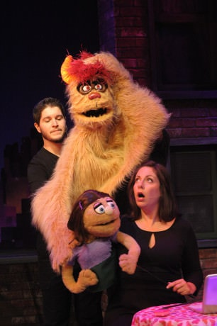 Trekkie Monster (Christian Montgomery), Katie Monster Katy Carkuff. (Vaughn Ryan Midder is the main person operating Trekkie, but he is behind the puppet here). Photo by Stan Barouh.