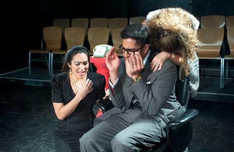 Shravan Amin (Dagobert) and Moriah Whiteman (Chantall), and Ariana Almajan (Amelia). Photo by Valentine Radev.