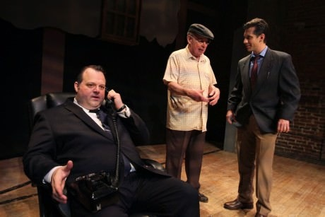 Frank Rizzo (Scott Greer) cancels Philadelphia's Frito-Lay contract as Reporter (Damon Bonetti) meets Abie (William Rahill). Photo by Photo by Paola Nogueras.