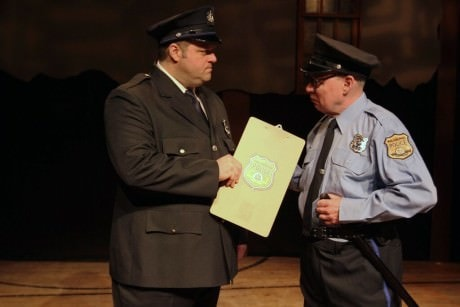 Father and son Frank (Scott Greer) and Ralph Rizzo (William Rahill) argue about Frank's police tactics. Photo by Paola Nogueras.
