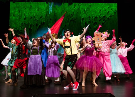 """Patrick Graham (Pinocchio), Evie Korovesis (Gingy) and the Ensemble in """"Freak Flag."""" Photo by Traci J. Brooks Studios."""