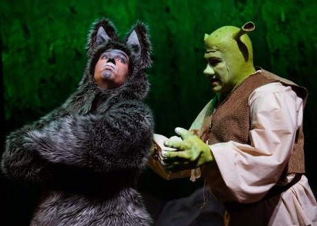 Joshua Redford (Donkey) and Paul Tonden (Shrek). Photo by Traci J. Brooks Studios.