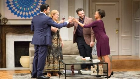 """Pej Vahdat, Monette Magrath, Ben Graney and Aimé Donna Kelly in """"Disgraced"""" at Philadelphia Theatre Company. Photo by Mark Garvin."""