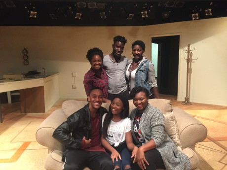 The cast of African America: (Back Row Diedre Staples, Douglas Ruffin and Brittany Turner; seated: Sideeq Heard, Grae King, and Jazmine Robinson
