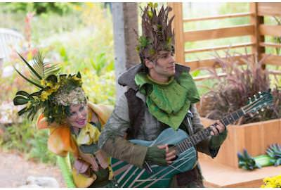 Sakile Lyles and Maggie Donnelly in 'Flowers Stink' at the U.S. Botanical Gardens. Photo by Teresa Wood.