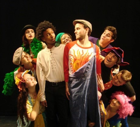 Zachary Norris (Jesus) in the center surrounded by the cast of 'Godspell.'