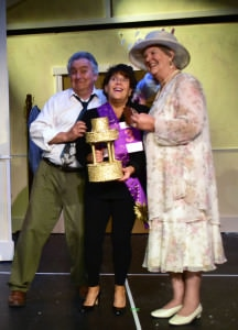 Bob Thompson, Jayne Victor, and Angela Cannon in Providence Players Calendar Girls. Photo by Chip Gertzog.