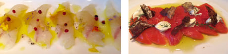 (left-to-right) Fluke crudo with pickled watermelon rind and pink peppercorns – Sockeye Salmon with salmon skin cracklings.