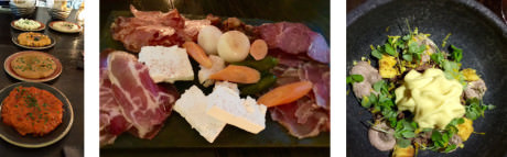 (left-to-right) A selection of Balkan spreads – Charcuterie platter of housemade meats, cheeses and pickled vegetables – Signature dessert – Forest Gnocchi.