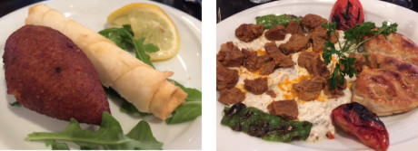 (left-to-right) Icli Kofte and Boregi stuffed with feta cheese and herbs – Ali Nazik – slow-cooked lamb on smoked puréed eggplant. A specialty of the Gaziantep region.