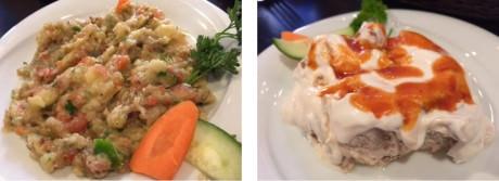 (left-to-right) Havuc Tarama – a spread of carrots, yoghurt and garlic – Kopoglu – sautéed eggplant with yoghurt garlic sauce.