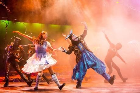 Kathy Gordon (Alice) and Vato Tsikurishvili (Caterpillar). Photo by Johnny Shryock.