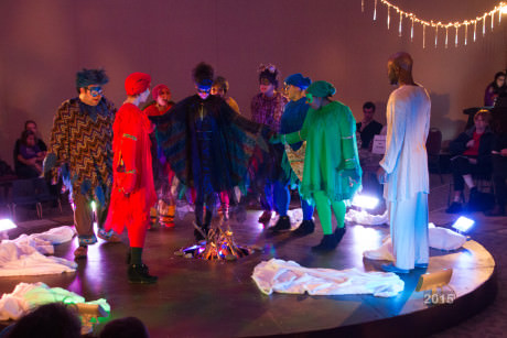 'Our Spirits are Raised' with the cast of 'The Rainbow Crow.' Photo by Sean Berenholtz.