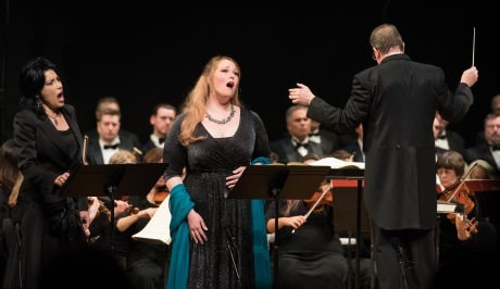Vivica Genaux, Jessica Pratt, and Maestro Antony Walker. Photo by Don Lassell.