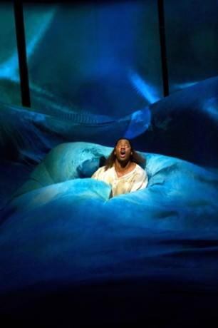 Pericles (Wayne T. Carr) is caught in a rough storm at sea in Pericles. Photo by Teresa Wood.