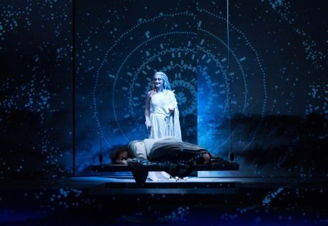 The Goddess Diana (Emily Serdahl) smiles down on Pericles (Wayne T. Carr). Photo by Teresa Wood.