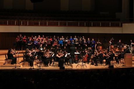 Music Director Kristofer Sanz conducts the orchestra. Photo by Carmelita Watkinson.