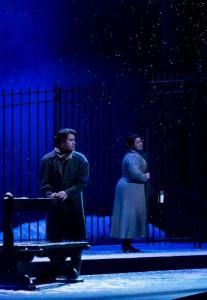 Rudolfo (Jason Slayden) and Mimi (Elaine Alvarez). Photo courtesy of Virginia Opera.