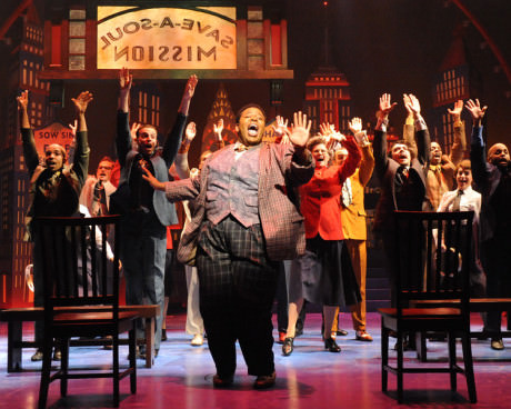 Nicely-Nicely Johnson (Tobias Young) and the cast of 'Guys and Dolls.' Photo by Stan Barouh.