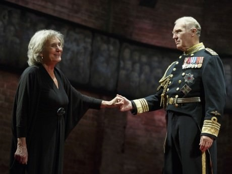 Margot Leicester (Camilla) and Tim Pigott-Smith (King Charles III). Photo by Joan Marcus.