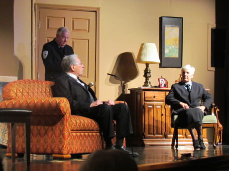 from L to R: John Lee (Sergeant Cadwallader), Howard Wachspress (Henry Angell), and Marian Urnikis (Inspector Thomas). Photo by Jessica McKay.