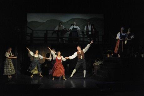 L to R: Megan Tatum (Meg Brockie), Ryann Lillis (Kate), Darian Lunsford (Charlie Dalrymple), Megan Schwartz (Jean MacClaren), with the Ensemble. Photo by Stan Barouh.