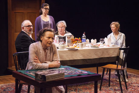 Sarah Marshall, Elizabeth Pierotti, Rick Foucheux, Ted van Griethuysen, and Kimberly Schraf in 'The Apple Family Cycle: Sorry.' Photo by Allie Dearie.