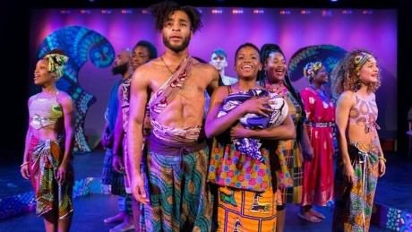 Kingsley Ibeneche (Joseph) and Sanchel Brown (Mary), and the cast of 'Black Nativity.' at Theatre Horizon in Norristown. Photo courtesy of Matthew J. Photography.