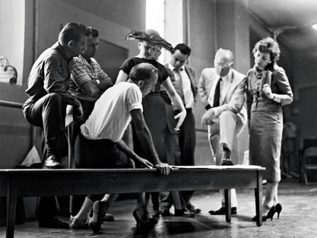 957: From left, Bernstein, Laurents, Robbins, Sondheim, and other members of the original West Side Story team. Photo by Martha Swope.