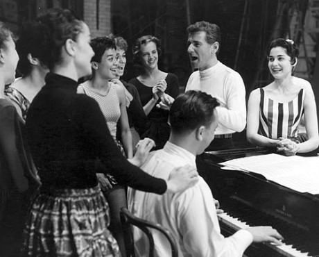 Leonard Bernstein rehearses the cast of 'West Side Story,' accompanied by Stephen Sondheim at the piano. Photo courtesy of The Library of Congress.