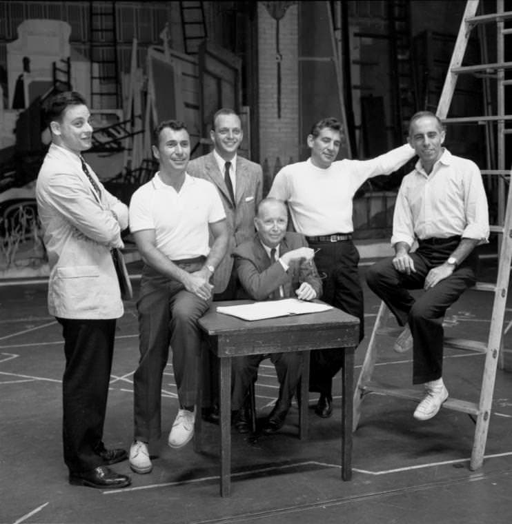 The creators of 'West Side Story': Stephen Sondheim, far left; Arthur Laurents, second from left; Leonard Bernstein, second from right; Jerry Robbins, far right. Photo courtesy of the Daily Dot Tumblr.http://bookshop.tumblr.com/post/466007091