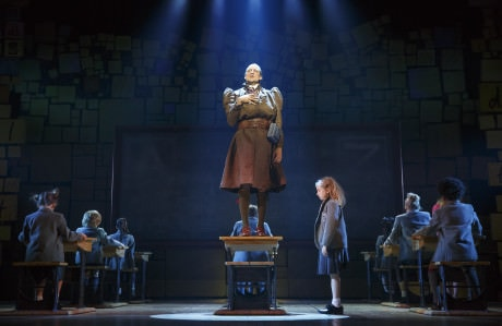 Bryce Ryness (Miss Trunchbull) and Mabel Tyler (Matilda Wormwood), and The Company of 'Matilda The Musical' National Tour. Photo by Joan Marcus.