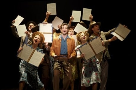 A.J. Shively and the cast of Bright Star at the Kennedy Center. Photo by Joan Marcus.