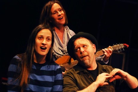 Left to Right, Katie Jeffries, Rose McConnell, and Sasha Olinick. Photo courtesy of The HUb Theatre.