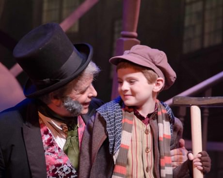 Lawrence O. Grey Jr. (Ebenezer Scrooge) and Nathaniel Burkhead (Tiny Tim). Photo by Doug Olmsted.