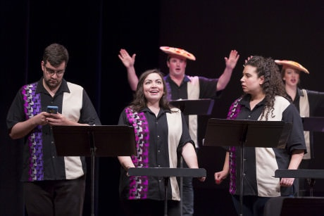 'Twenty Minutes or Less': Timothy J. Bruno (Damian), Raquel González (Candice), Rexford Tester (Pizza Queen), Daryl Freedman (Osha), and Mandy Brown (Pizza Queen). Photo by Scott Suchman for WNO.