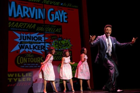 Jarran Muse as Marvin Gaye and the cast of Motown The Musical. Photo by Joan Marcus.