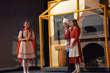 (Little Red Riding Hood), The Baker (Max von Kolnitz), and his Wife (Shannon Flack). Photo courtesy of Aldersgate Church Community Theater.