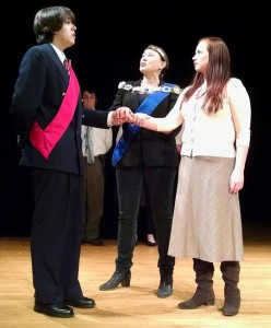 Charlie Green as Bertram, Trevor Jones as the Steward, Jaki Demarest as the King, and Grace Eda Baker as Helena. Photo by Melissa Schick.