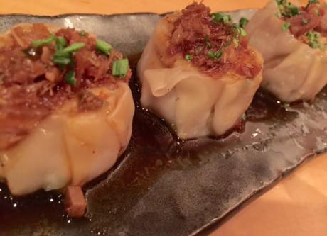 Pork and foie gras shumai dumplings.
