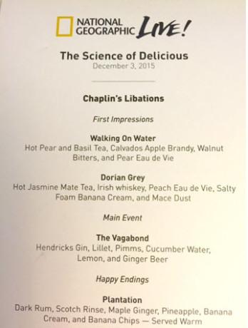 Cocktail progression menu.