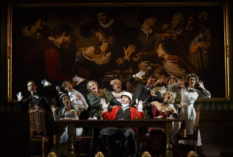 The cast with John Rapson (Lord Adalbert D'Ysquith (in red). Photo by Joan Marcus.