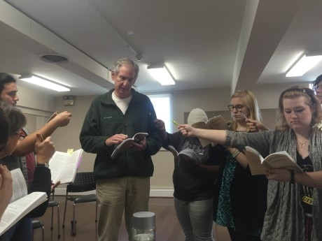 In rehearsal: From Left to right: Natalie McManus, Francisco Borja, Stuart Rick, Lynette Franklin, Lena Winter, Brianne Taylor, and Elizabeth Weiss. Photo by Kelsey Jenkins.
