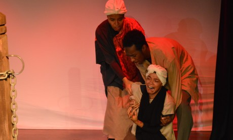 The Whipping Post: Linaé Bullock (Harriet Tubman), Tyrell Martin (Silas), and Kashi-Tara (Nelly). Photo by Mike Biggz.